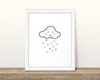 Cloud Pink Printable, Cloud with Hearts Digital Printable