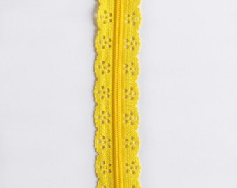 "Yellow Lace Zipper - Lace Zippers - Yellow Zippers - Bag Zippers - Purse Zippers - YKK Zippers - Sewing Zippers - 8"" Zippers - Zippers"