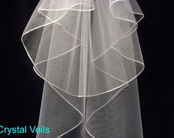 Wedding Veil - Whipped Edge - All sizes - Best Quality & Price!