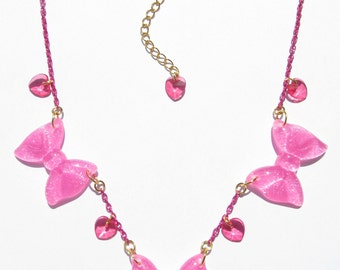BOWS BOWS BOWS Necklace - Pink, kawaii, fairy kei, sweet lolita, harajuku, sparkly, glitter, heart, decora, cute