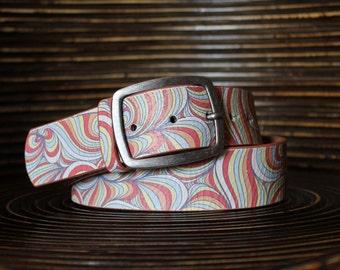 Stamped Leather Belt - Strap Snap Belt - Interchangeable Belt - Waves