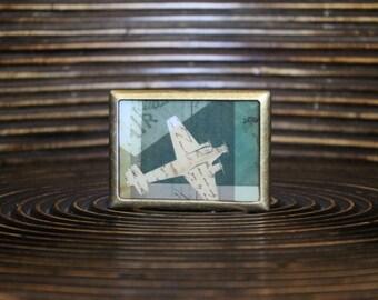 Belt Buckle – Vintage print belt buckle - Interchangeable Belt Buckle – Plane belt buckle – Square shape belt buckle - SQR-ANG-001