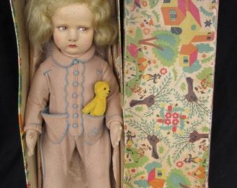 Lenci Doll Vintage, 17 1/2 inch Italian Felt Lenci Doll, Lenci Baby with Teddy Bear in Original Box, Lenci Series 300/14, Scavini Lenci