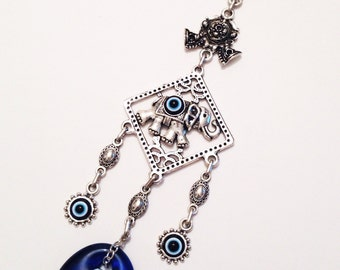 Lucky evil eye wall hanging - elephant evil eye - evil eye beads - nazar boncuk - turkish evil eye - greek evil eye - evil eye home decor
