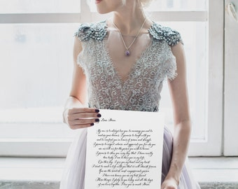 Your Custom Wedding Vows, Beautiful Calligraphy, **Printable Item**