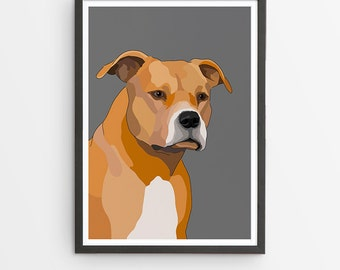 American Staffy Illustrated Breed Print  / Various Colours /  Dog Lover's Gift / Poster