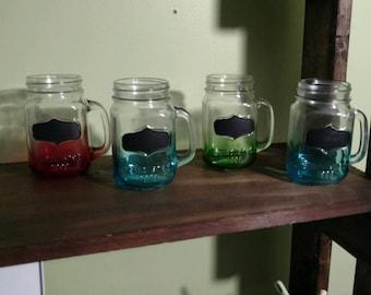 Set of 4 Chalkboard Mason Jugs