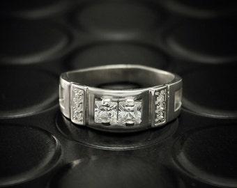 Men engagement ring, Unique mens signet ring, Men silver band, Silver engagement ring for men, Men ring with stones, Unique gift for him
