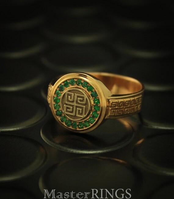emerald signet ring emerald ring unique signet ring