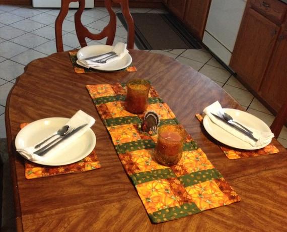 Pumpkin/Fall Table runner with placemats Handmade