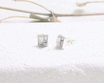 White Howlite Pyramid Stud Earrings, Square White Marble Stud Earrings