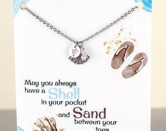 Personalized Shell Necklace - BFF - Nautical - Seashell - with a Card - Ready to Gift  - Custom Nautical Necklace - Friend necklace