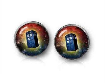 Tardis Nebula Stud Earrings Doctor Who Earrings Van Gogh Jewelry Fangirl Fanboy