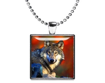 Wild Wolf Necklace Wild Wolf Square Pendant Wolf Jewelry Animals