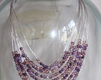 Handmade Purple beaded necklace - Perfect gift - (B7) - 24cm long. Multi stranded necklace.