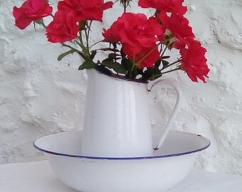 French vintage enamelware pitcher and basin.