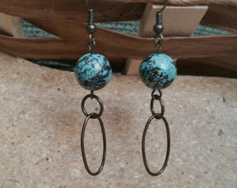 Unique Antique Bronze Chain and Turquoise/Black/Gold Earrings