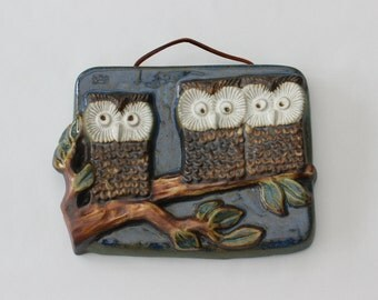 Cute 60s Wall Plaque in stoneware with 3 wise owls sitting on a branch. Made by EGO stengods Lidköping, Sweden.
