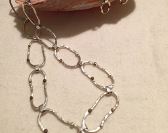 Sterling Silver Chain with silver, copper and tumbago beads