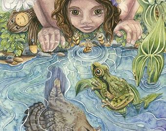 "Wisdom Feather 10"" x 19"" Original Watercolor Giclee Print on canvas, children totem hawk bird sock monkey surrealism nature reflection water"