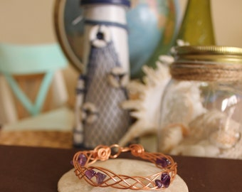 Celtic Braid Copper Wire Bracelet With Amethyst stones