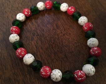 Christmas Red White Green Stretch Bracelet.