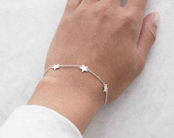 Sterling star charm bracelet, simple bracelet, daughter gift, silver bracelet, charm bracelet, sister gift, simple bracelet, girlfriend gift