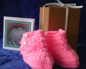 handmade baby crochet pink bootees gift boxed with a card