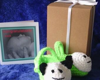 Handmade crochet panda bear baby shoes in gift box with card