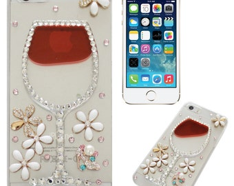 Wine Glass Moving Liquid Rhinestone Bling iPhone 5/6/7 Plus Case