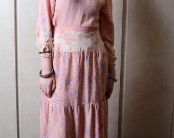 Vintage Floral Print, Pink, 2 Piece Blouse and Skirt