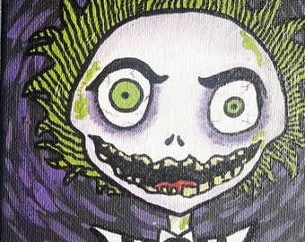 Signed 5x7 Canvas Panel Painting of Beetlejuice