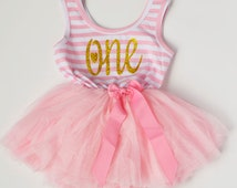 First Birthday Outfit.  One Year Dress  Smash Photo  Pink Stripes  Glitter  Baby Girl