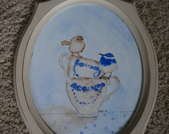 Original Watercolor Teacups and Birds