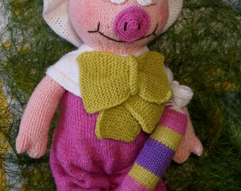Toy Pig Stuffed Toy Pig  Knitted Toy Pig  Funtik The Pig   Pink Pig