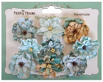 The Hobby House Boutique Paper Flower - Vintage Blooms Aqua Blue