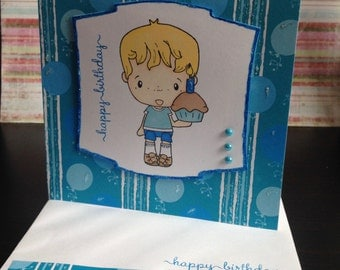 Cupcake Phillip Birthday Card - Blue & White