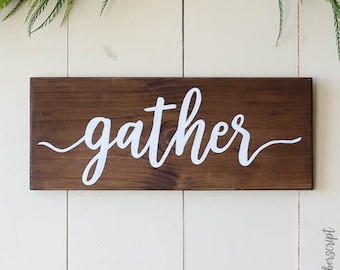 Rustic Gather Sign Dining Room Decor Wood
