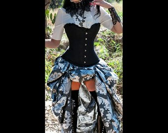 Ready to ship 2 PC Black SATIN Corset with Silver Bustle Skirt, Steampunk, Victorian, Cosplay, Costume, Dress