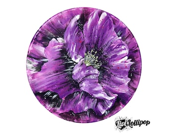 "Purple poppy painting *original* 12"" vinyl record art- purple flower painting purple art poppy art upcycled art wedding gift purple wall art"