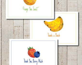 Fruit Thank You Cards - Instant Download