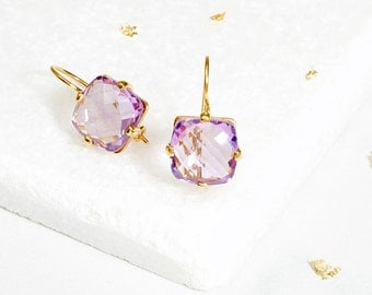 Square Amethyst Drop Earrings, dangle earrings, gift for her, women's jewellery, silver, gold, semi precious jewellery. FREE SHIPPING