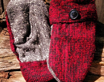Handmade Red and Black Sweater Mittens