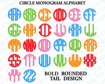Circle Monogram Font, SVG Cut Files, Circle Font Svg, Instant Download SVG EPS Dxf Png, Silhouette Cricut, Alphabet, Cut Files