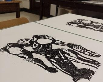 Samus Woodcut Print - Handpulled