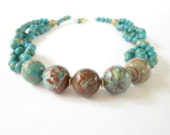Imperial Turquoise Braid Statement Necklace