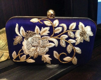 Handmade Embroidery Clutch on a Royal Blue Raw Silk