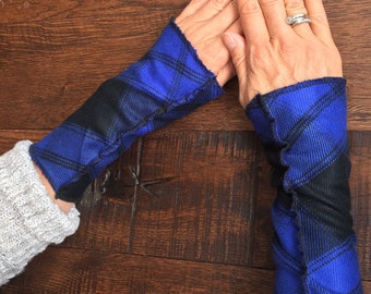 Fingerless gloves, Blue and Black plaid flannel wrist warmers, plaid flannel wristers, Arm warmers, mitts