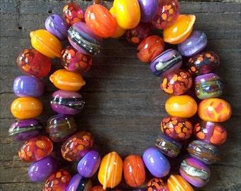 Lampwork Glass Beads, Colorful Glass Beads, Orange Glass Beads, Handmade Glass Beads, Italian Glass Beads, OOAK Beads, Lampwork Glass Set