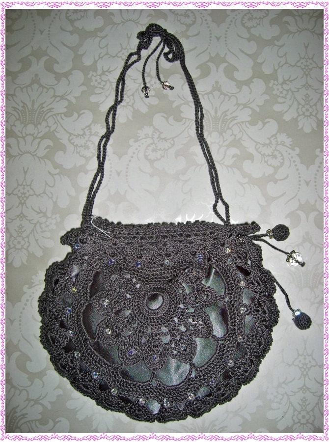 Crochet Evening Purse Pattern : Silk Crochet Evening Bag Purse Clutch Dark Grey by ...